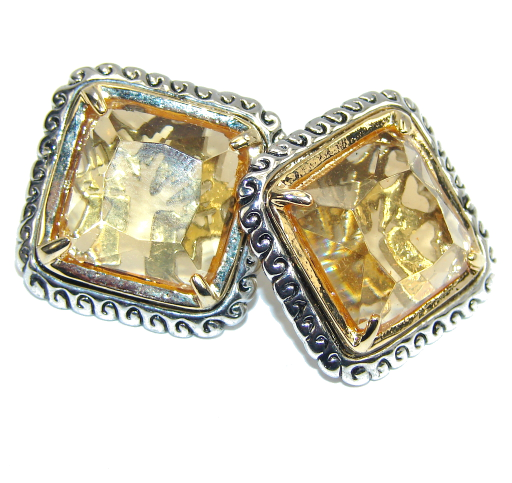 Big! Genuine Yellow Citrine Sterling Silver Earrings