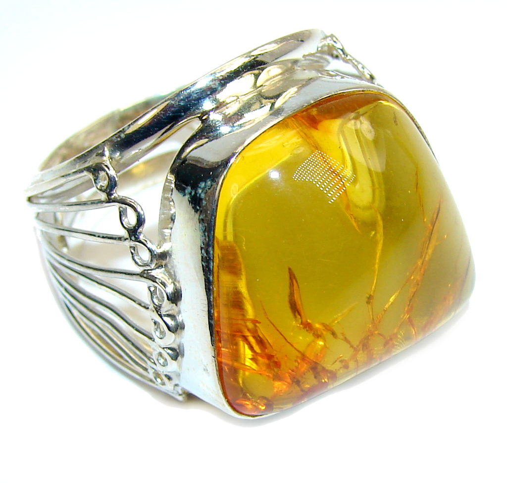 Big! Natural AAA Baltic Polish Amber Sterling Silver Ring s. 12
