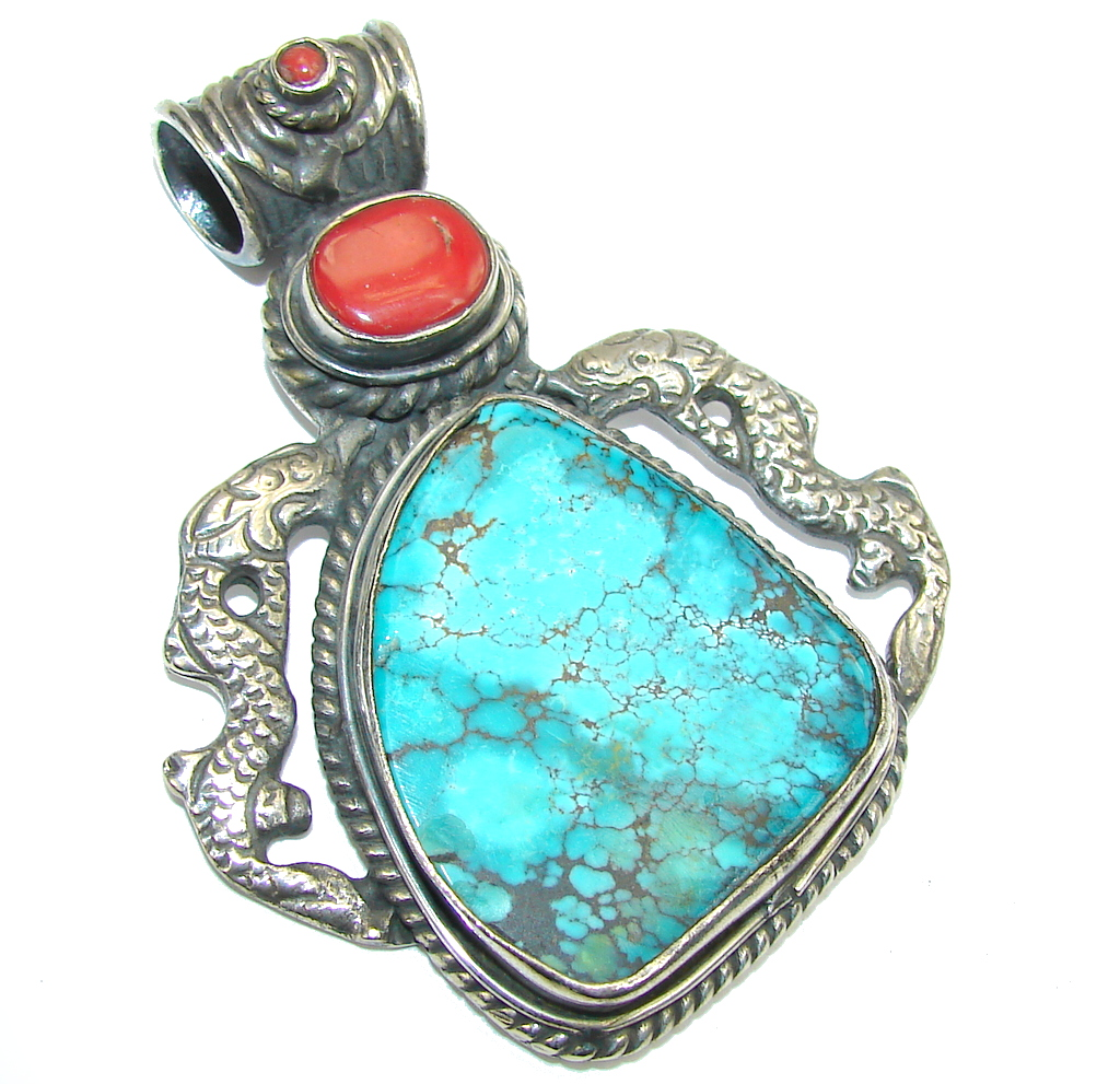Big! Fashion Blue Turquoise Sterling Silver Pendant