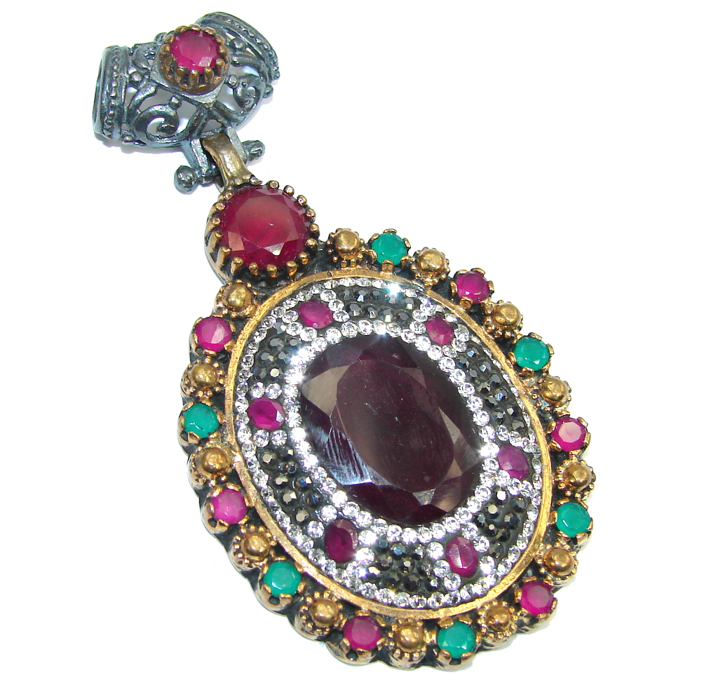 Victorian Style Red Ruby & Emerald, White Topaz Sterling Silver Pendant