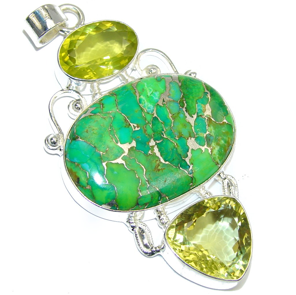 Big! Summer Beauty Copper Green Turquoise Sterling Silver Pendant