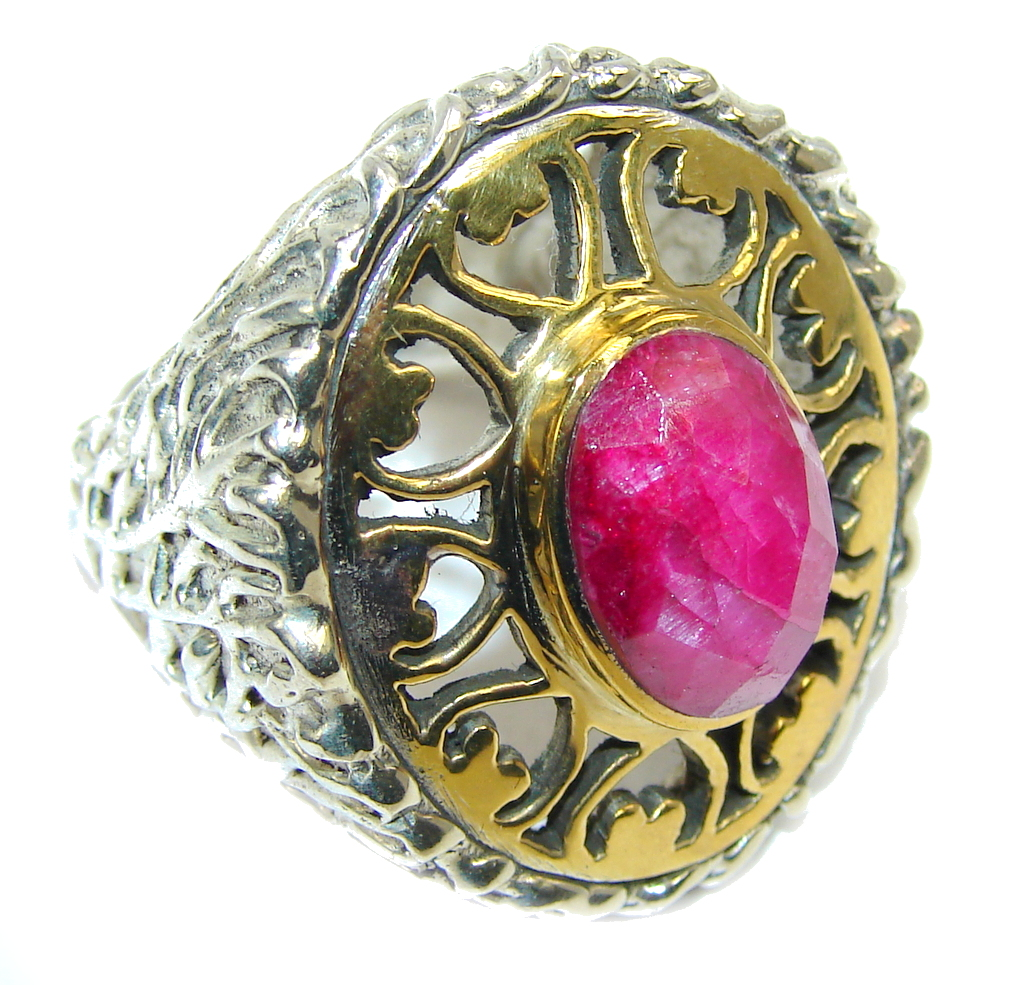 Big! Stunning Pink Ruby, Two Tones Sterling Silver Ring s. 8 1/4