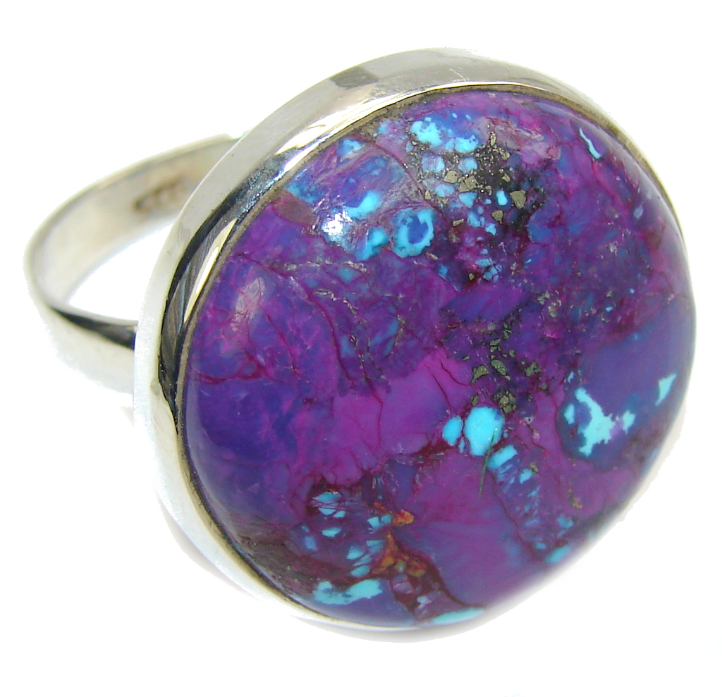 Big! Simple Purple Turquoise Sterling Silver Ring s. 13