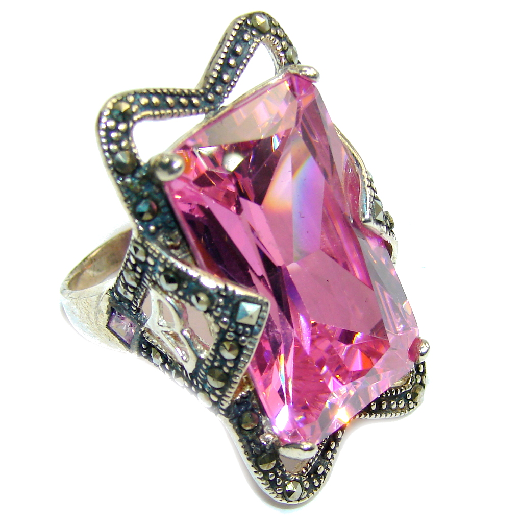 Big! Created Pink Sapphire & Marcasite Sterling Silver Ring s. 7