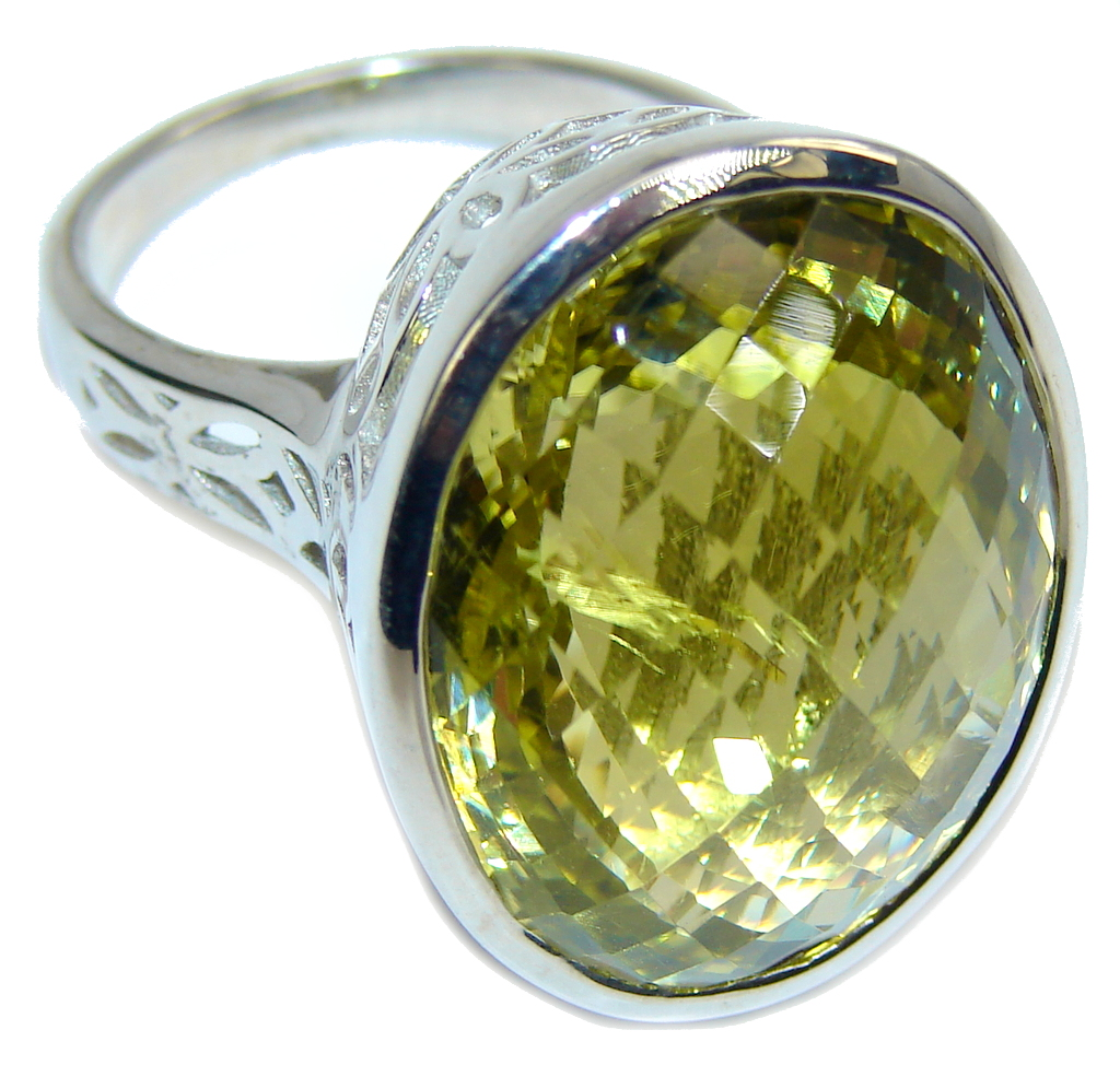Big! Brilliant Cut Genuine Citrine Sterling Silver Ring s. 9