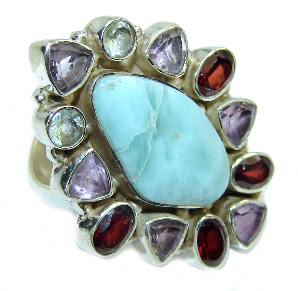 Amazing AAA Blue Larimar Sterling Silver Ring s. 7