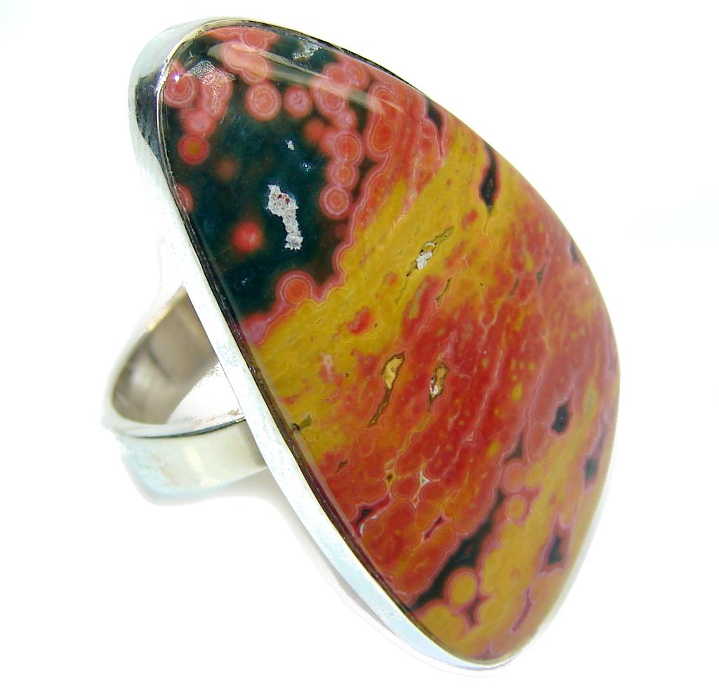 Beautiful AAA Green Ocean Jasper Sterling Silver Ring s. 10