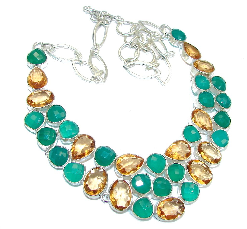 Exotic Beauty Green Agate & Golden Topaz Sterling Silver necklace