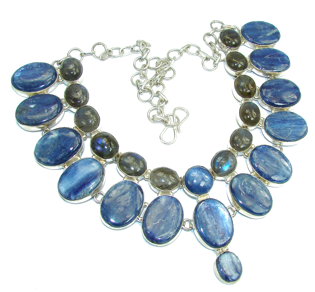 Big! Be Spectacular AAA African Kyanite & Labradorite Sterling Silver necklace