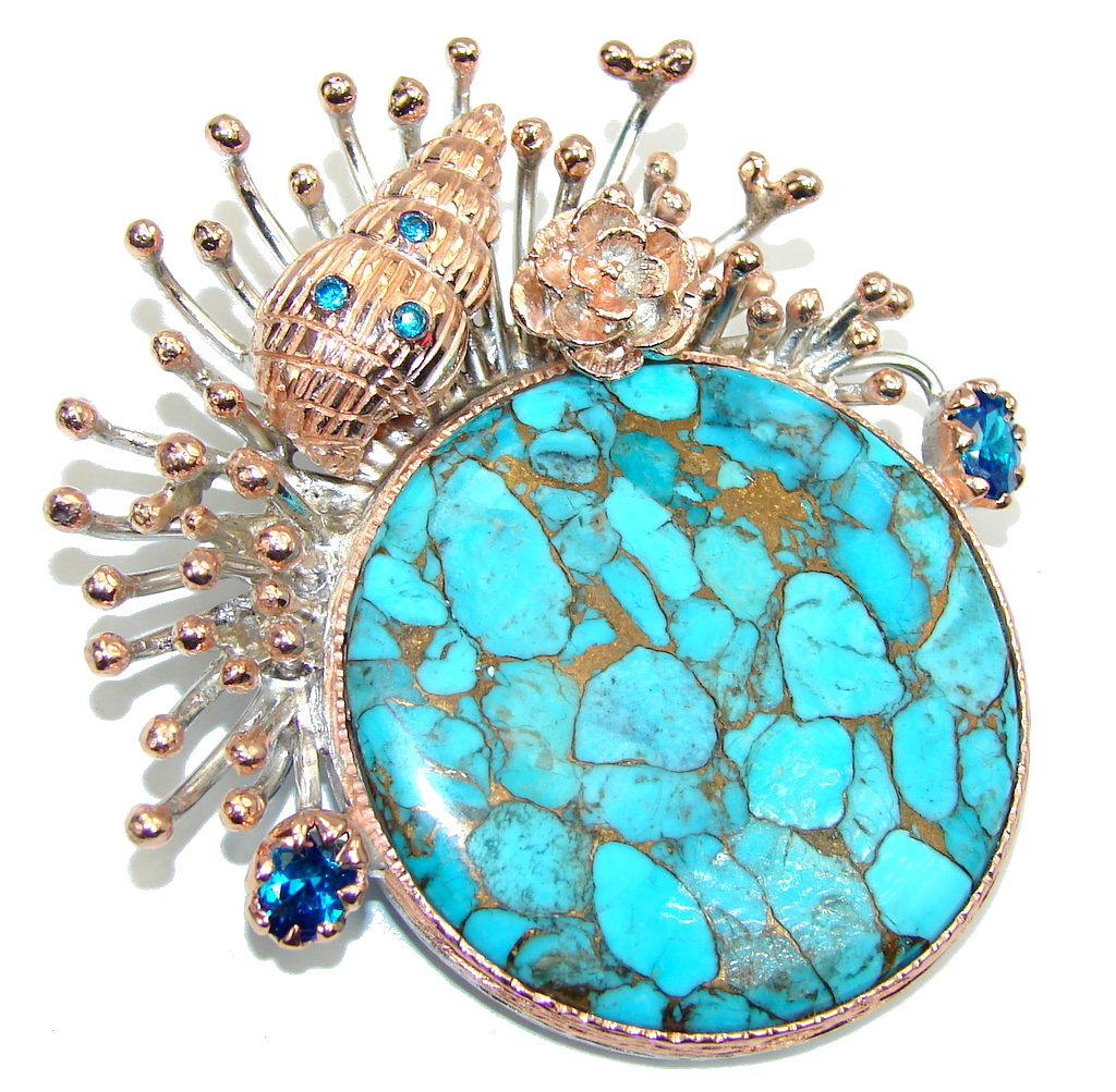 Big! Ocean Beauty AAA Copper Blue Turquoise, Rose Gold Plated Sterling Silver Pendant