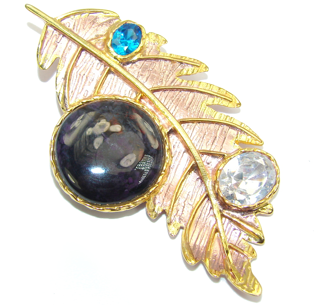 Beautiful Black Onyx Rose & Gold Plated Sterling Silver Pendant