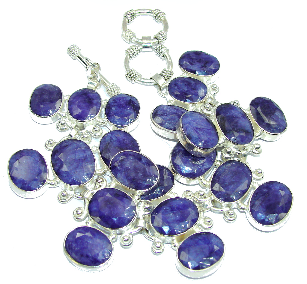 Huge! Natural Blue Sapphire Sterling Silver Bracelet