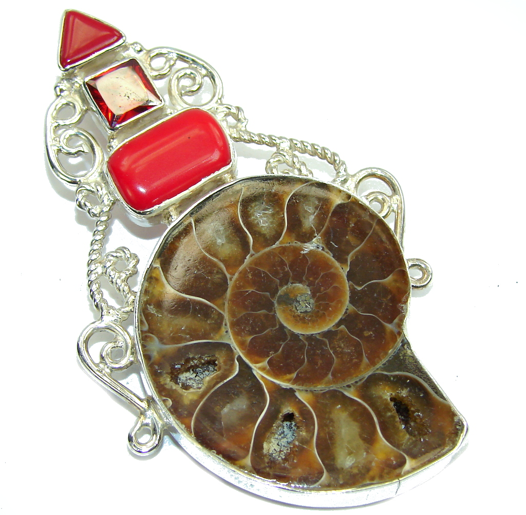 Big! Stylish Brown Ammonite Fossil Sterling Silver Pendant