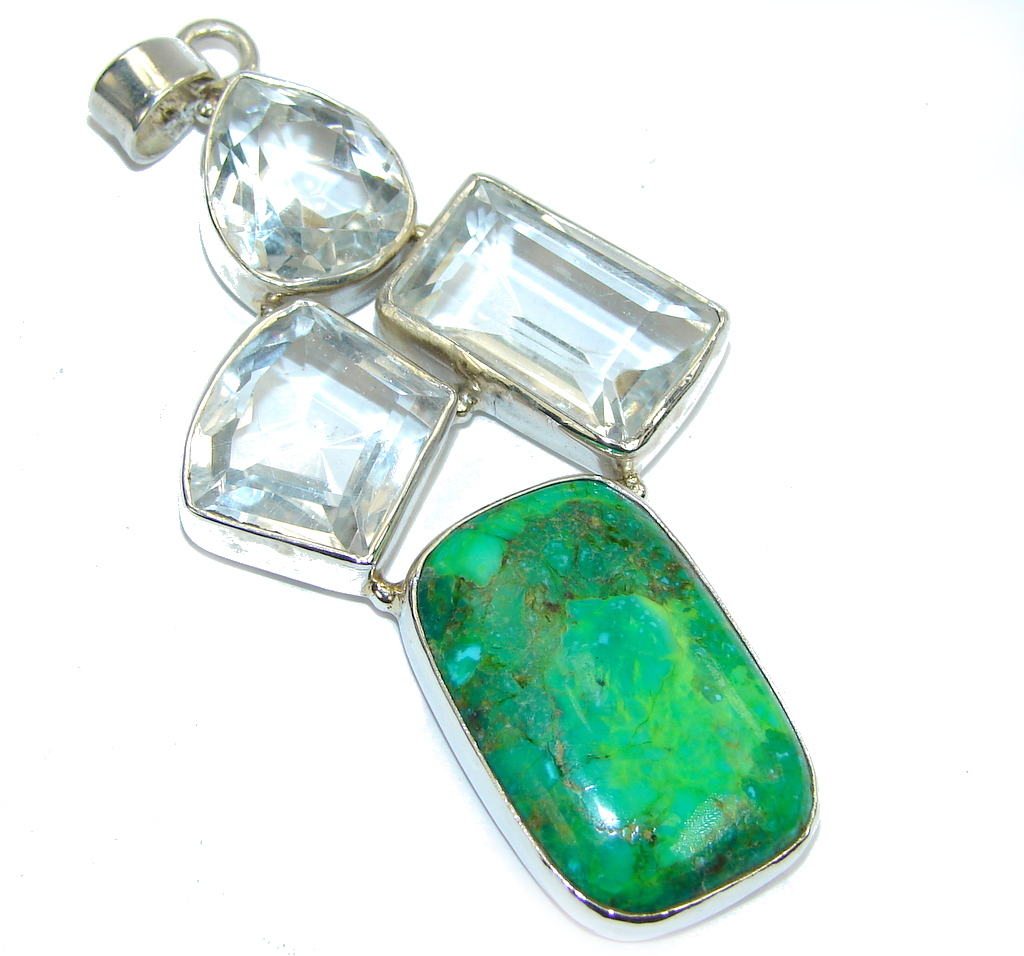Big! Green Beauty Turquoise Sterling Silver Pendant