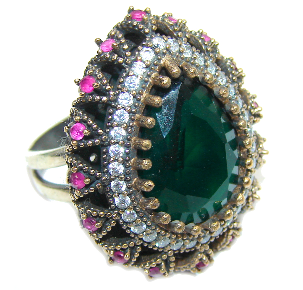 Victorian Style! Created Emerald & White Topaz Sterling Silver Ring s. 7