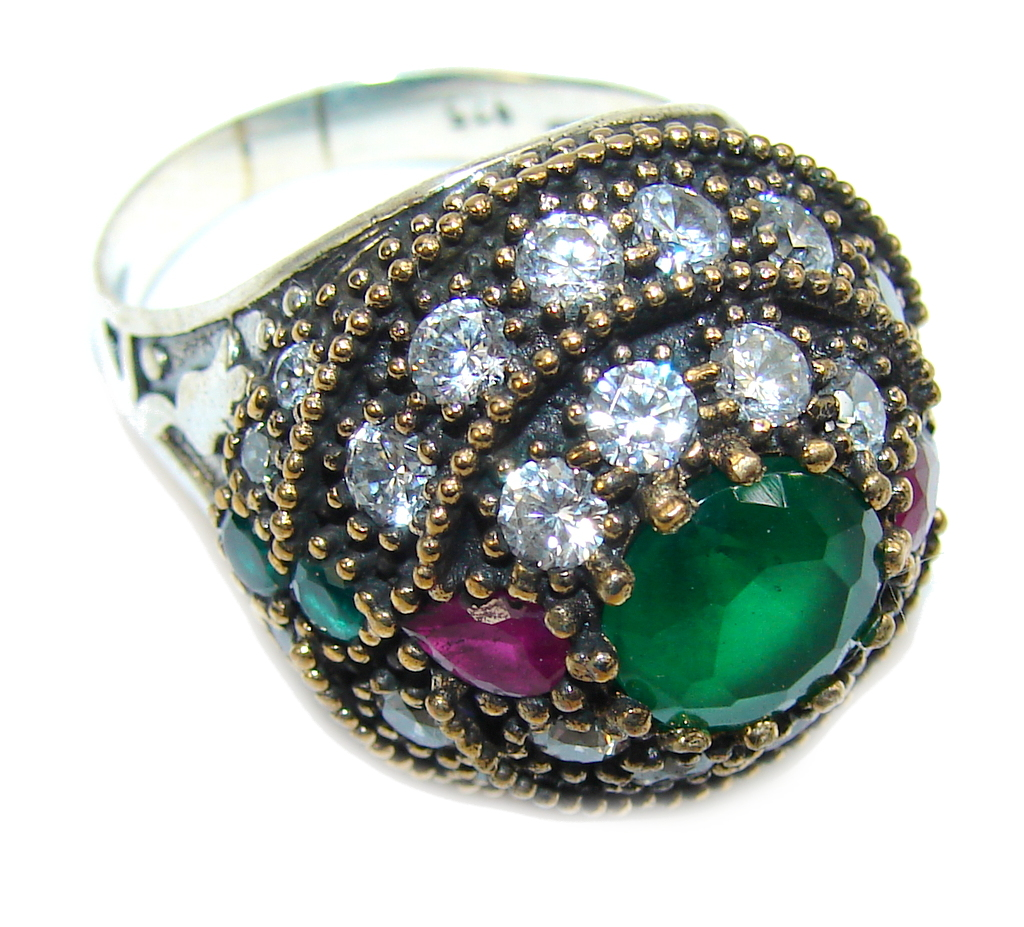 Victorian Style! Created Emerald & White Topaz Sterling Silver Ring s. 9