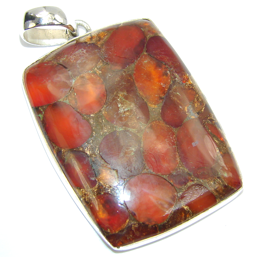 Crushed Carnelian Copper Sterling Silver Pendant