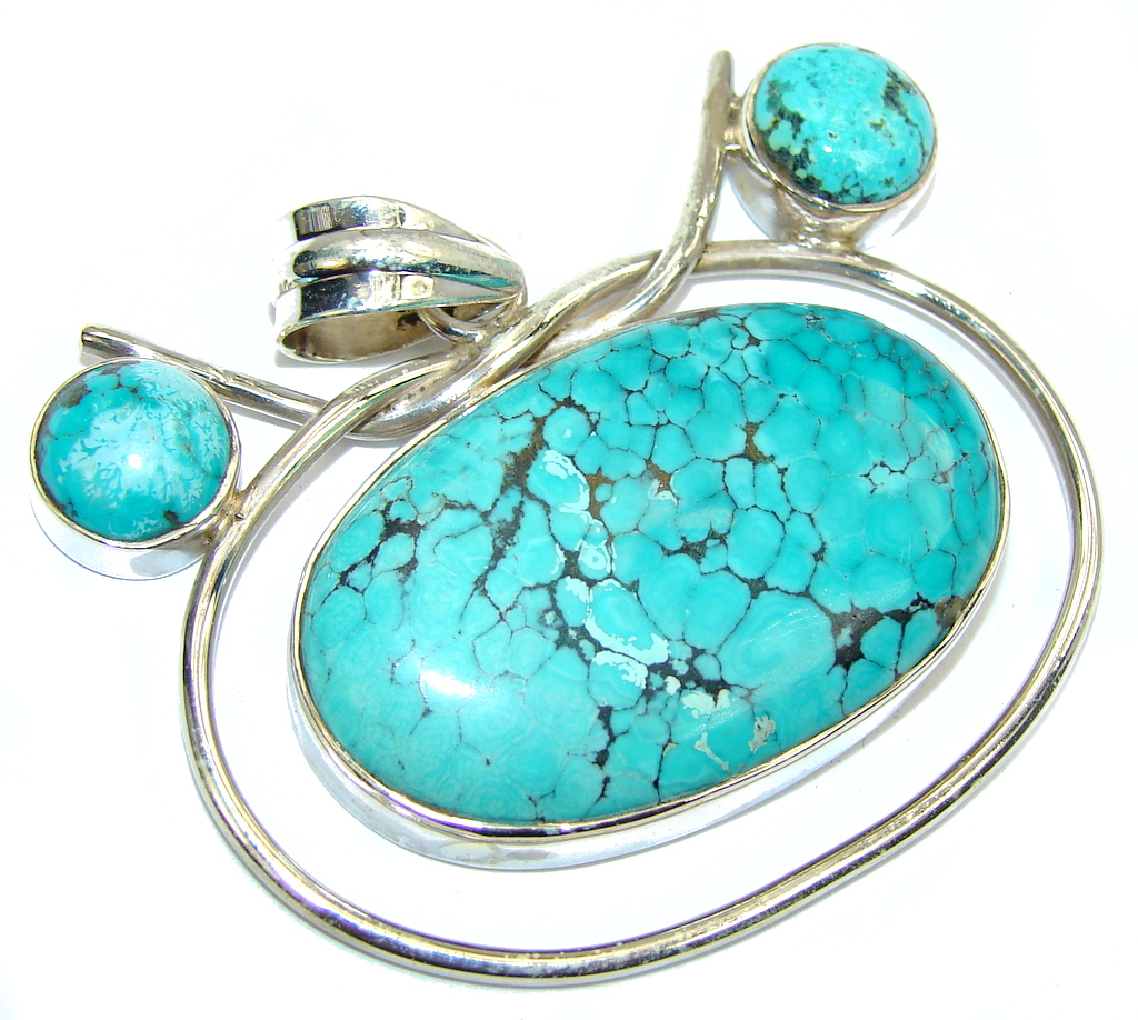 Big! Fantastic Style Turquoise Sterling Silver Pendant