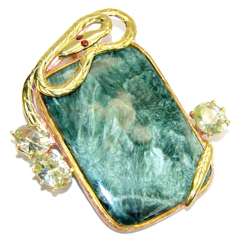 Boa Guard AAA Green Seraphinite & Gold Plated Sterling Silver Pendant