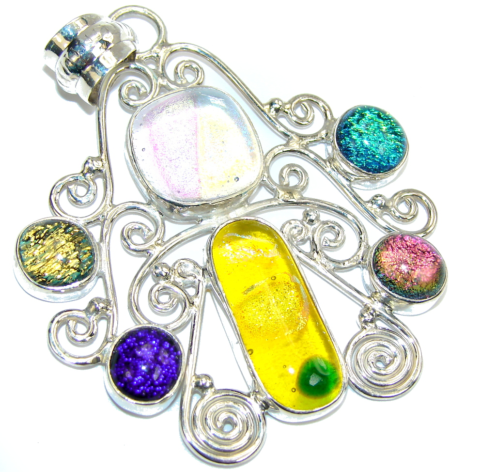 Rainbow Mexican Dichroic Glass Sterling Silver pendant