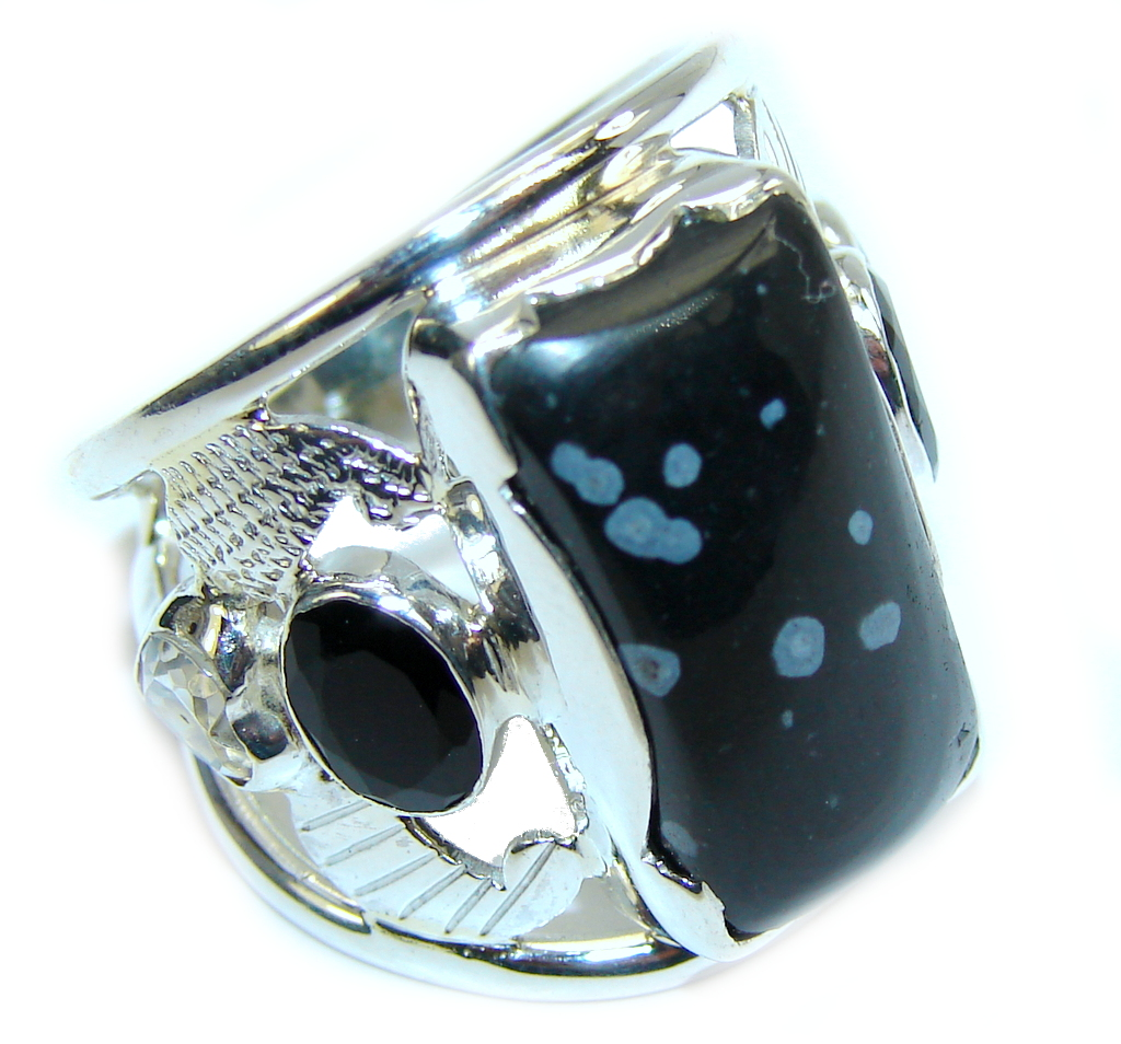 Excellent Black Snowflake Obsidian Sterling Silver ring s. 7 1/4