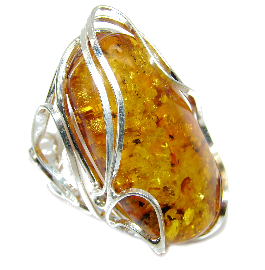 Big! Natural AAA Baltic Polish Amber Sterling Silver Ring s. 8 adjustable