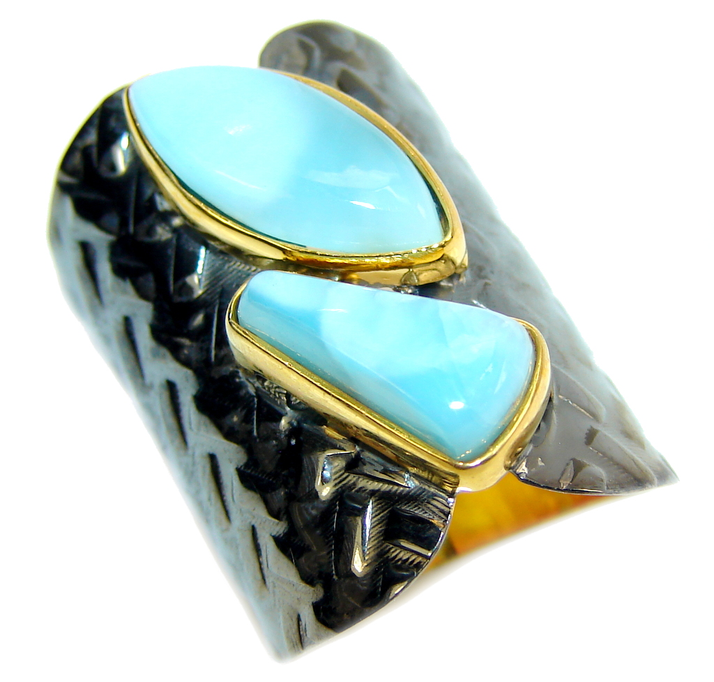 AAA Blue Larimar, Gold Rhodium Plated Sterling Silver Ring s. 7 1/2
