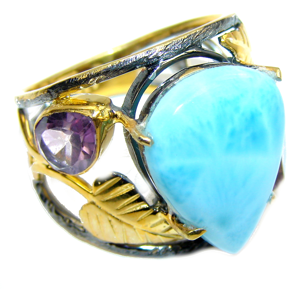 AAA Blue Larimar Gold Rhodium Plated Sterling Silver Ring s. 8 1/4