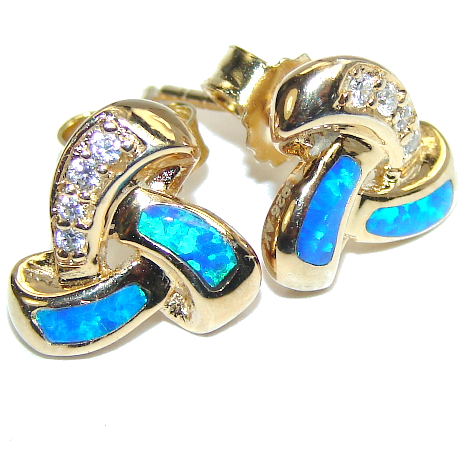 Amazing Blue Japanese Fire Opal & White Topaz, Gold Plated Sterling Silver earrings
