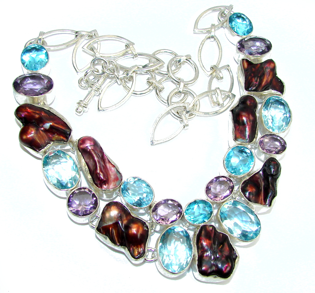 Summer Beauty Mother Of Pearl & Swiss Blue Topaz & Amethyst Sterling Silver necklace