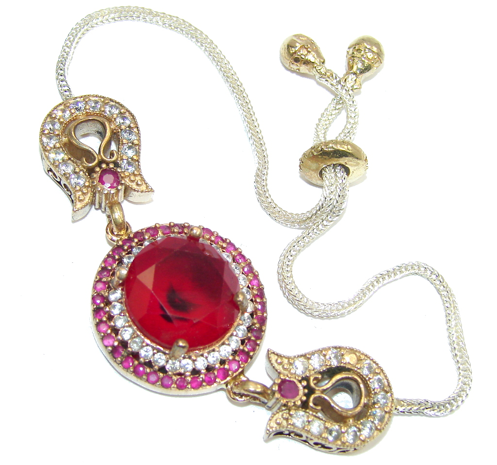 Victorian Style! created Red Ruby & White Topaz Sterling Silver Bracelet