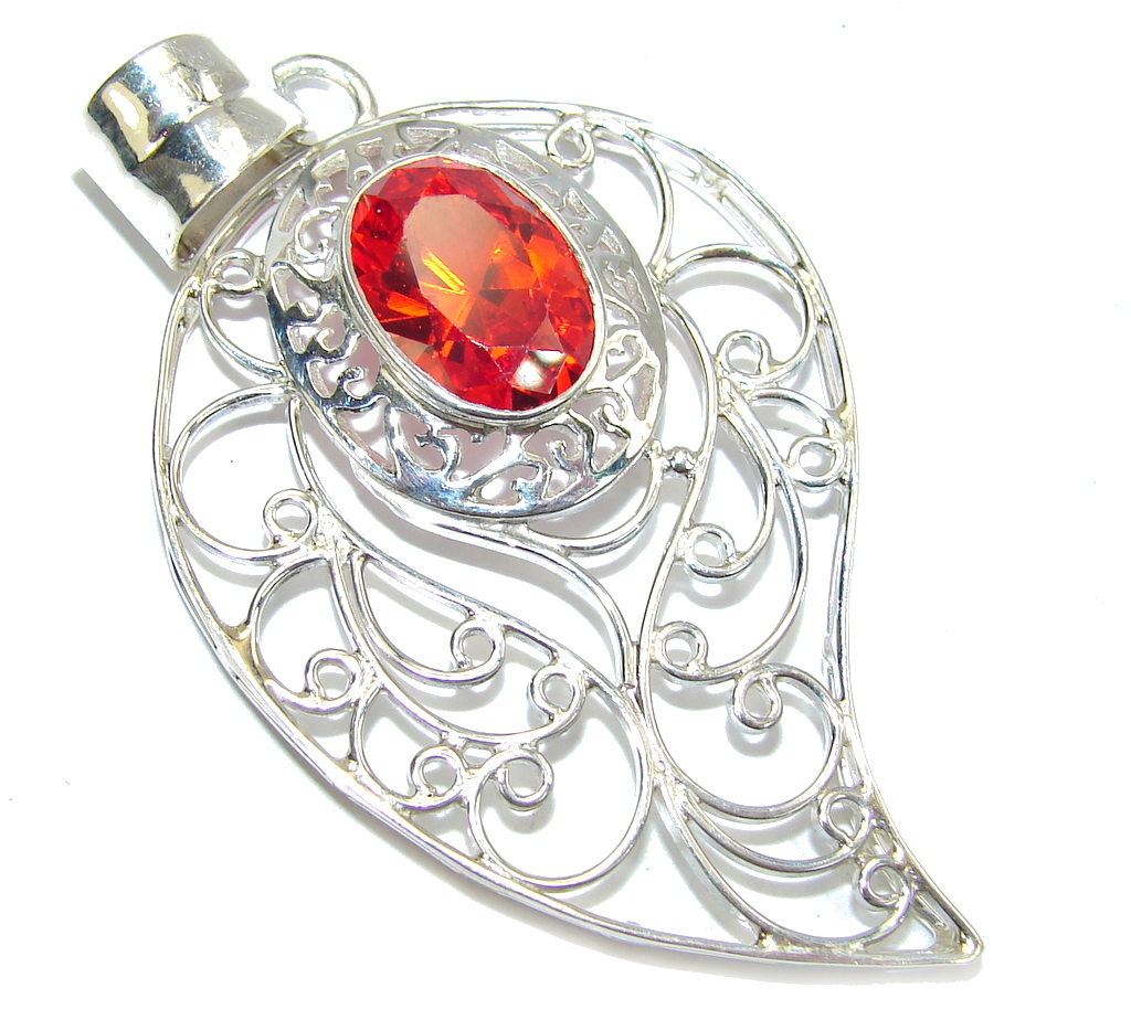 Amazing Red Garnet Quartz Sterling Silver Pendant