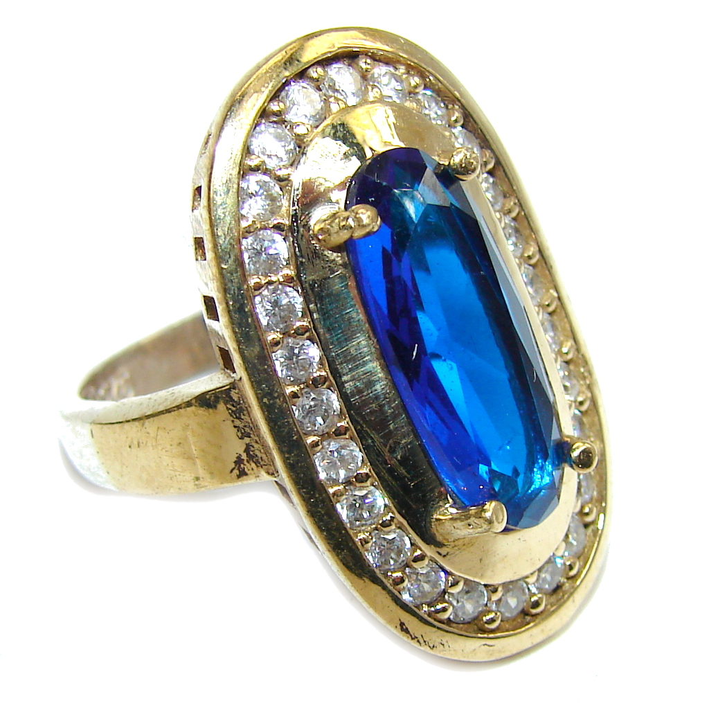 Amazing Created Blue Sapphire & White Topaz Sterling Silver Ring s. 8 1/2
