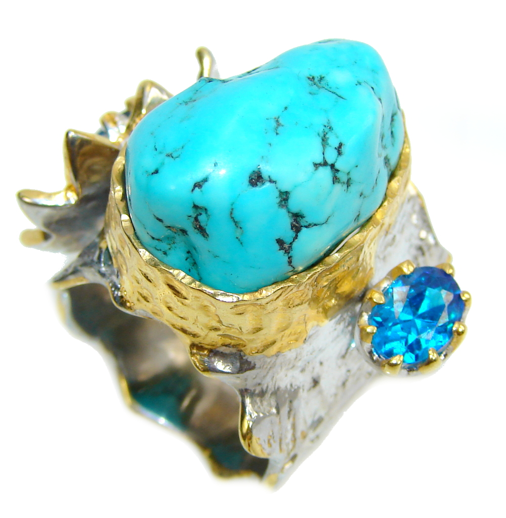 Big! Classic Beauty Blue Turquoise, Two Tones Sterling Silver Ring s. 6