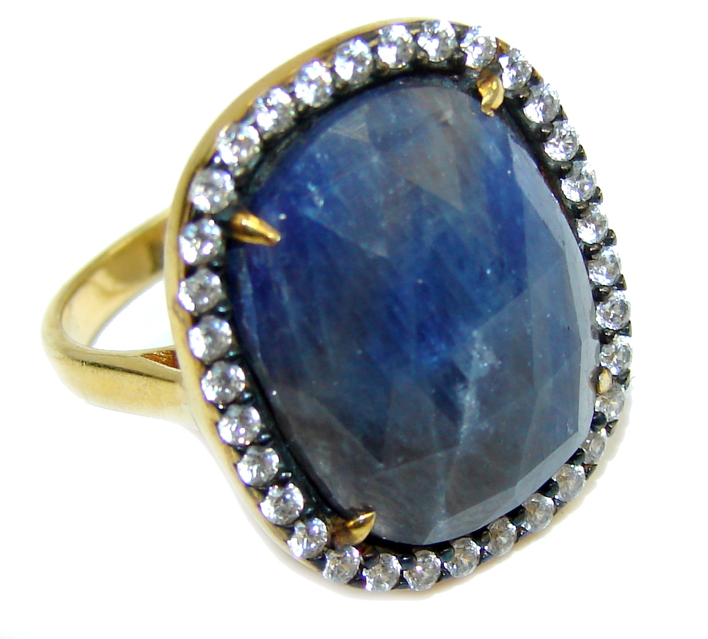 Stunning AAA Blue Sapphire & White Topaz, Gold Plated Sterling Silver Ring s. 6 1/2
