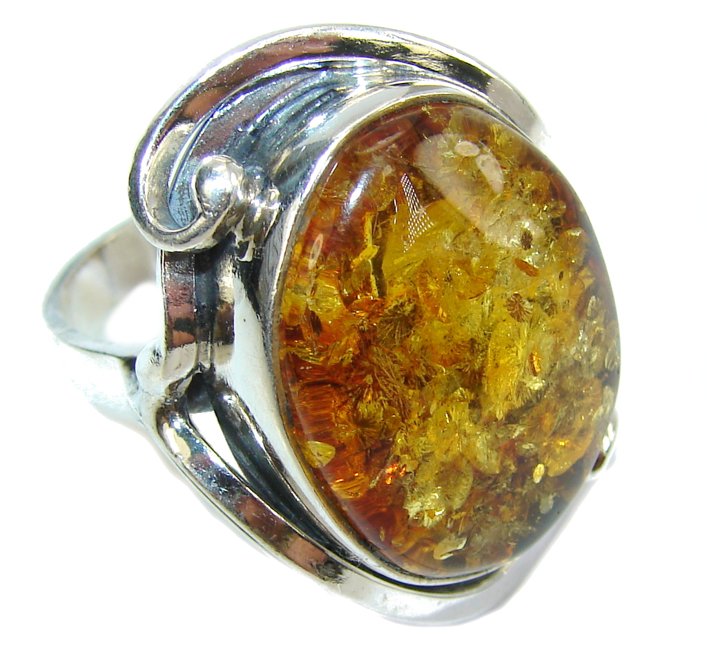 Big! Beautiful AAA Baltic Polish Amber Sterling Silver Ring s. 7