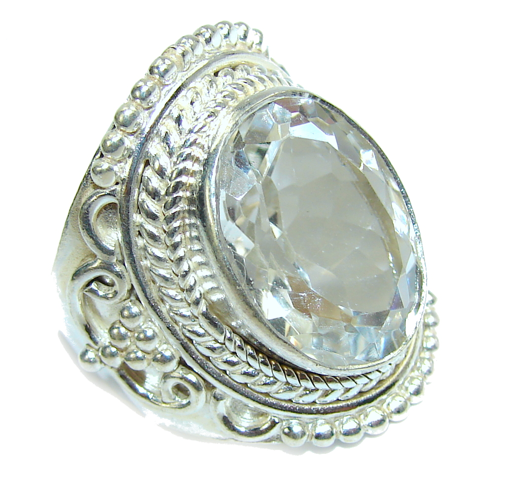 Big! Amazing White Topaz Sterling Silver Ring s. 11