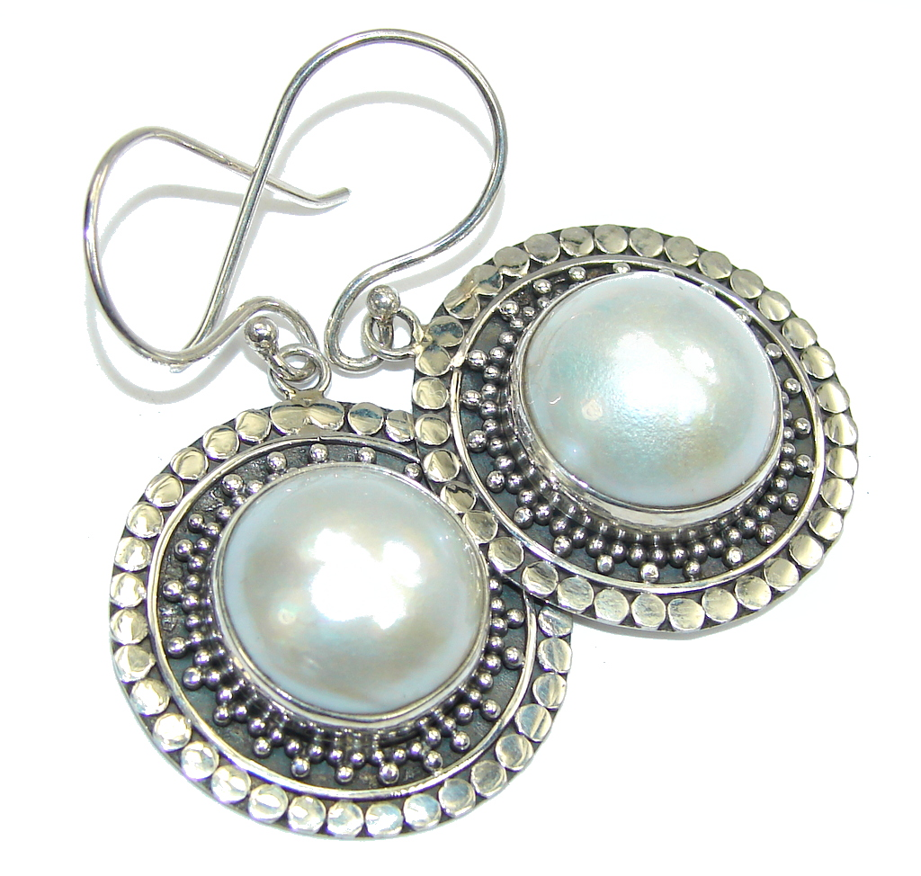 Big! Delicate Fresh Water Pearl Sterling Silver earrings