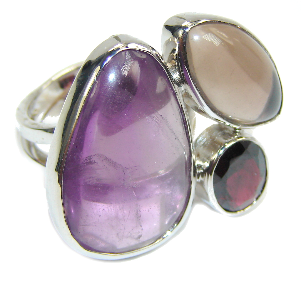 Big! Delicate Purple Amethyst & Smoky Topaz & Garnet Sterling Silver Ring s. 8 -adjustable