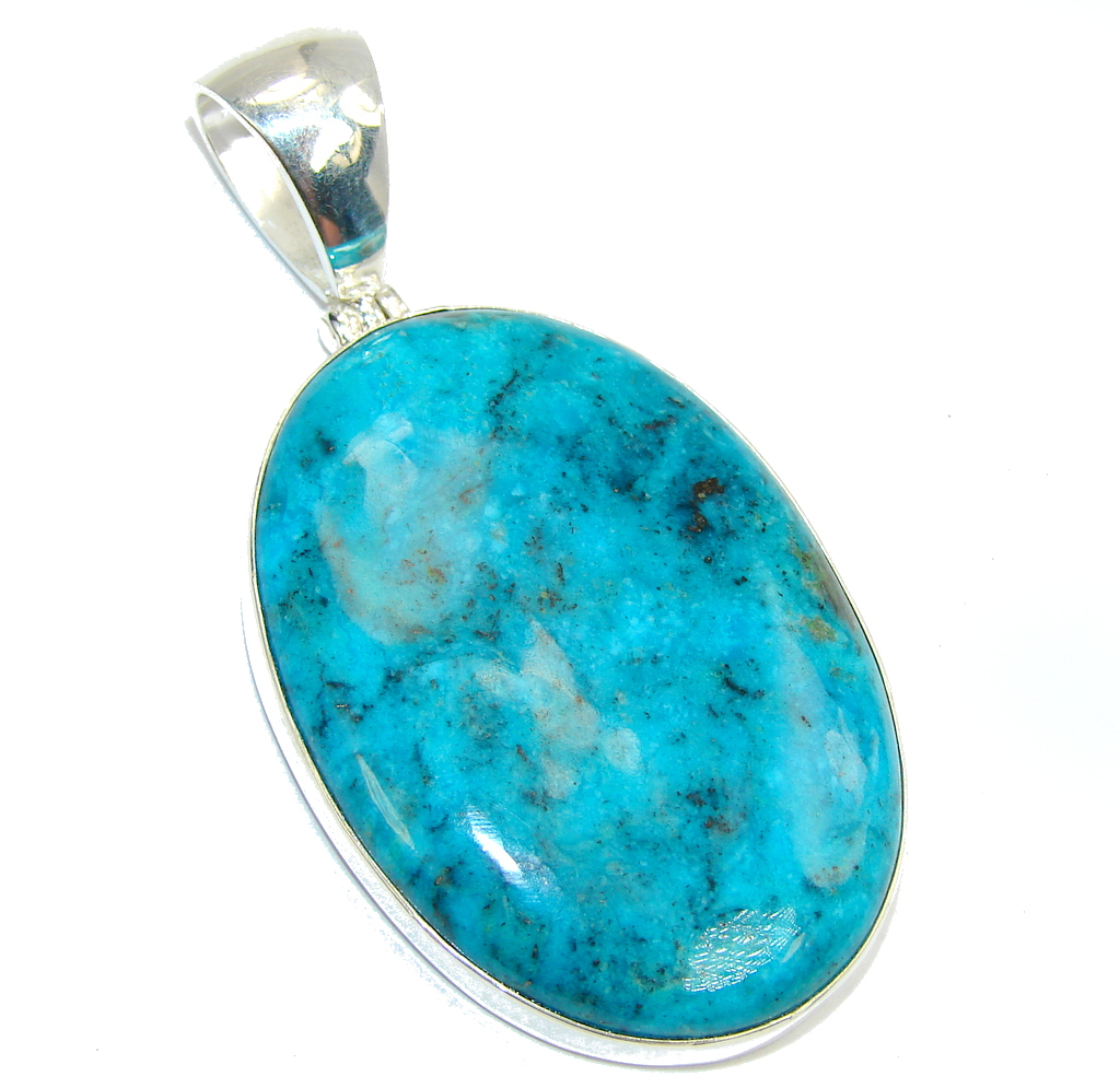 Amazing Blue Chrysocolla Sterling Silver Pendant