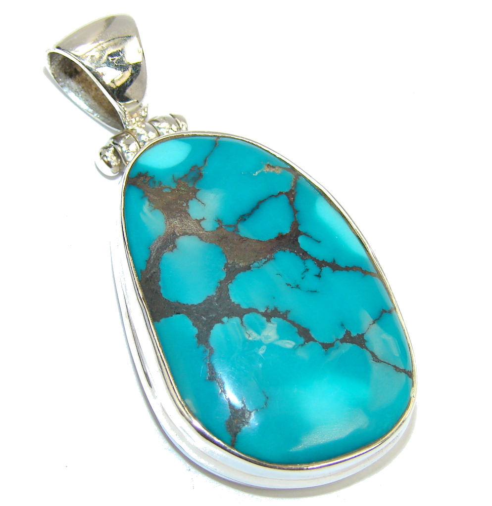 AAA Black Spider Web Blue Turquoise Sterling Silver Pendant