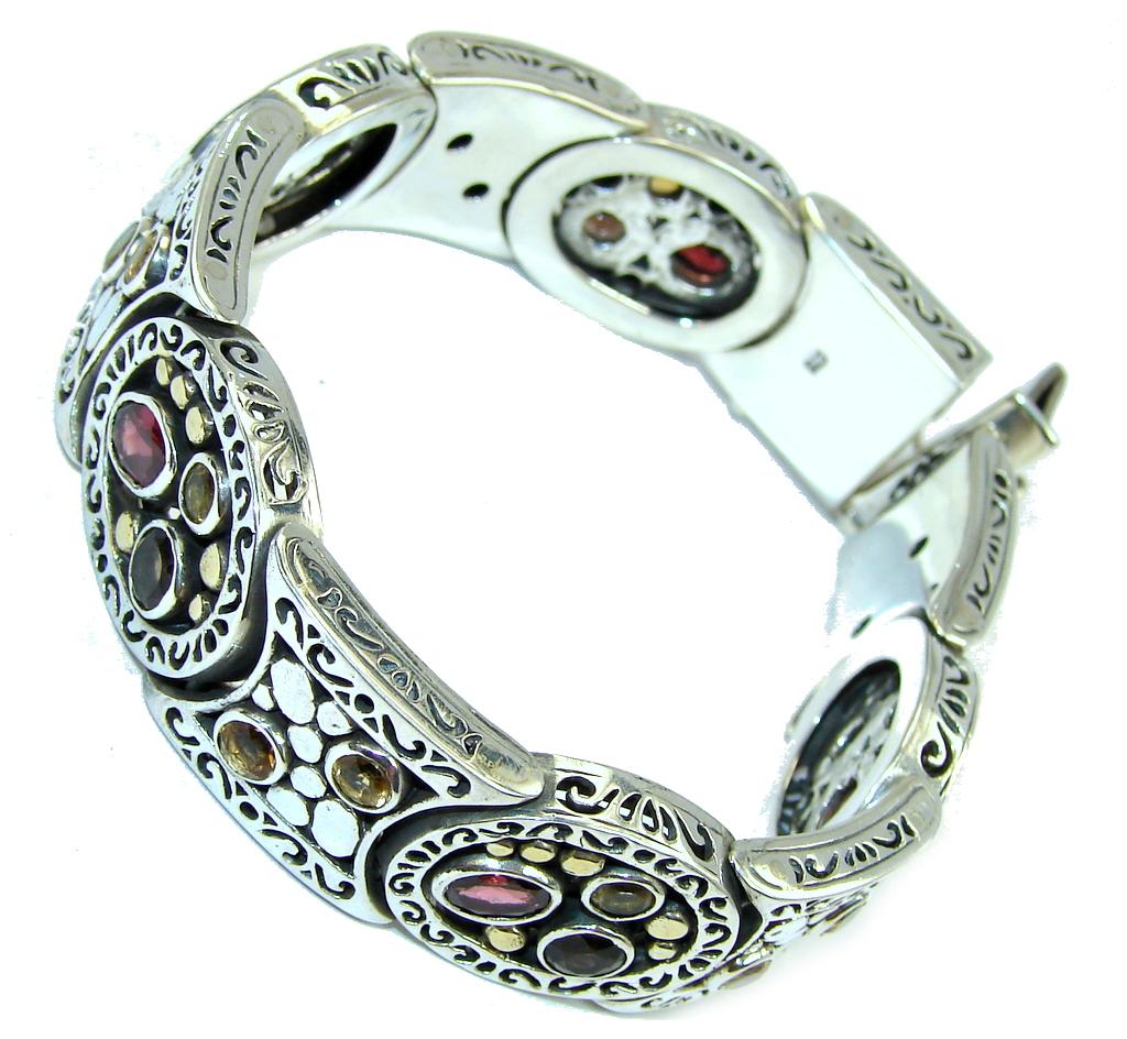 Bali Secret AAA Red Garnet & Citrine Sterling Silver Bracelet