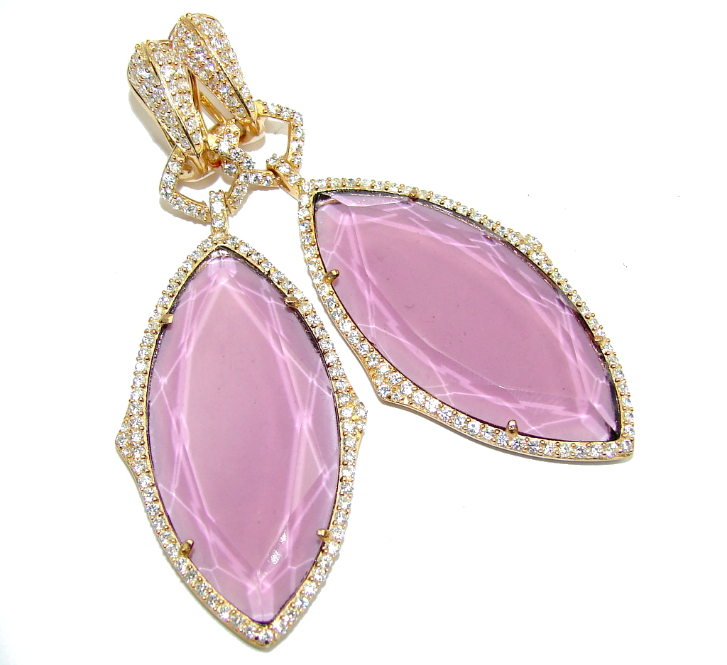Big! Hollywood Style Created Amethyst & White Topaz, Gold Plated Sterling Silver earrings