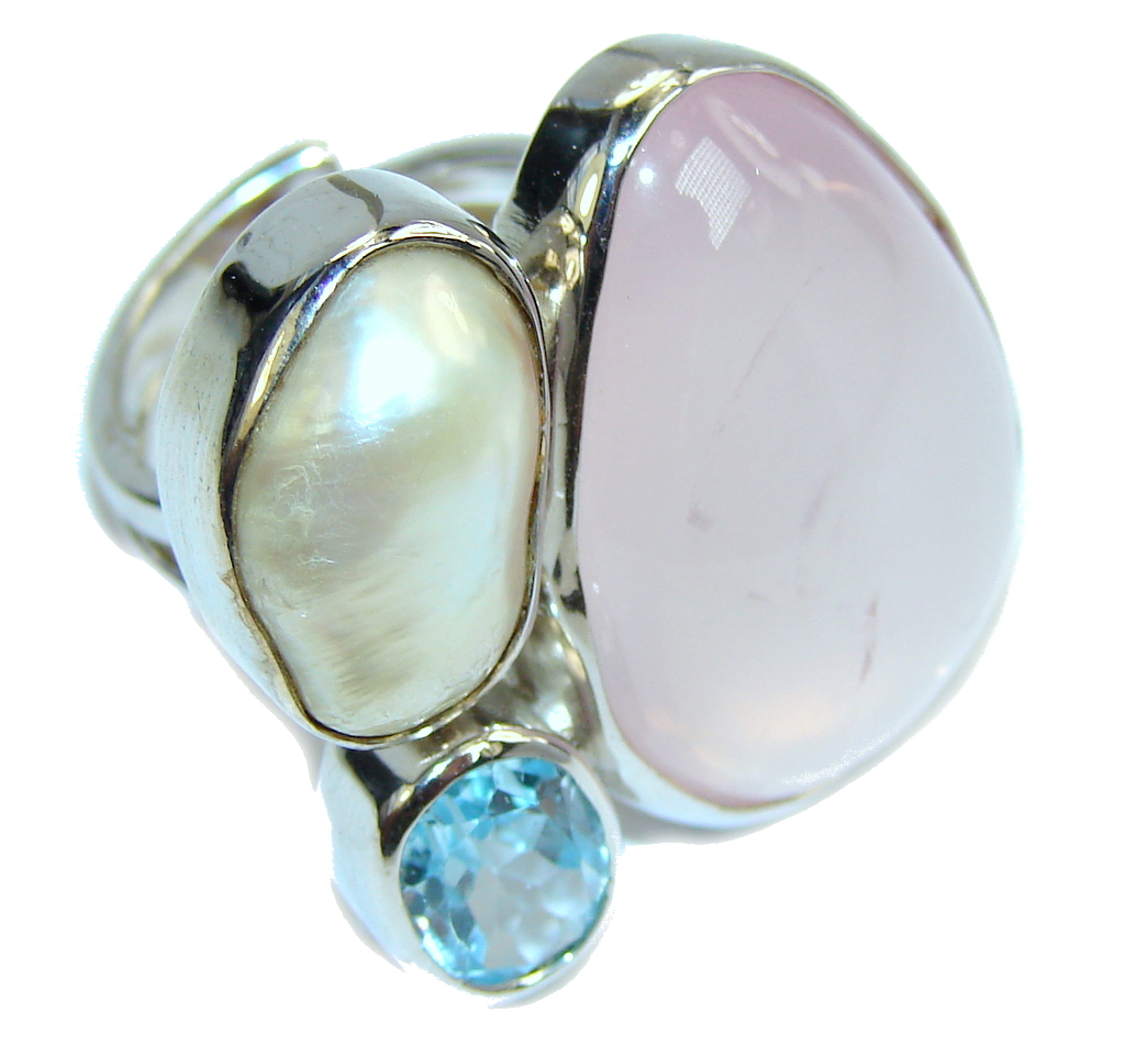 Big! Amazing Rose Quartz & Blister Pearl & Swiss Blue Topaz Sterling Silver Ring s. 7 - adjustable