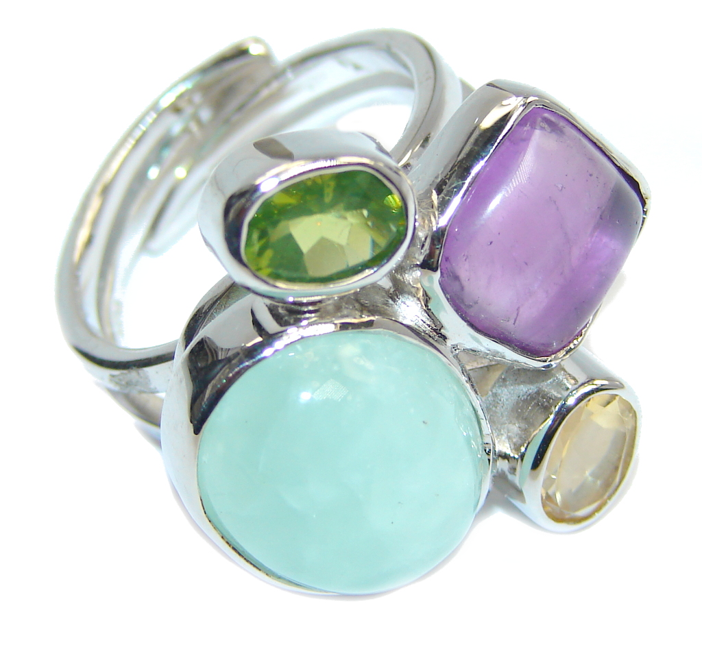 Amazing Light Green Apatite & Amethyst Sterling Silver ring s. 8- adjustable