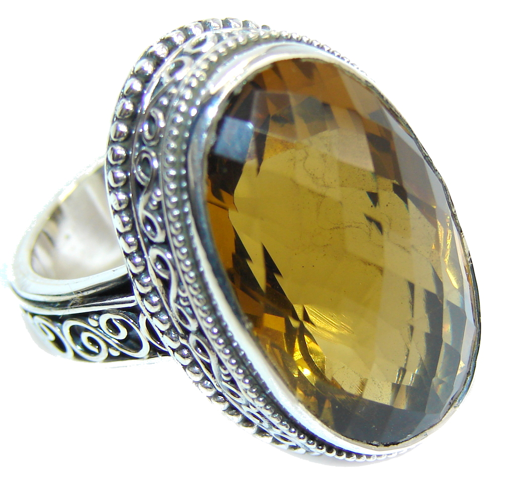 Big! Precious Created Citrine Sterling Silver Ring s. 7