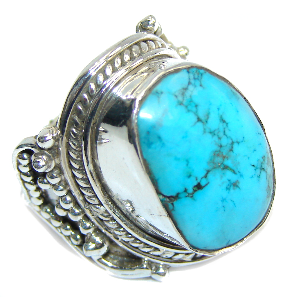 Big! Blue Ocean Turquoise Sterling Silver Ring s. 7 1/4