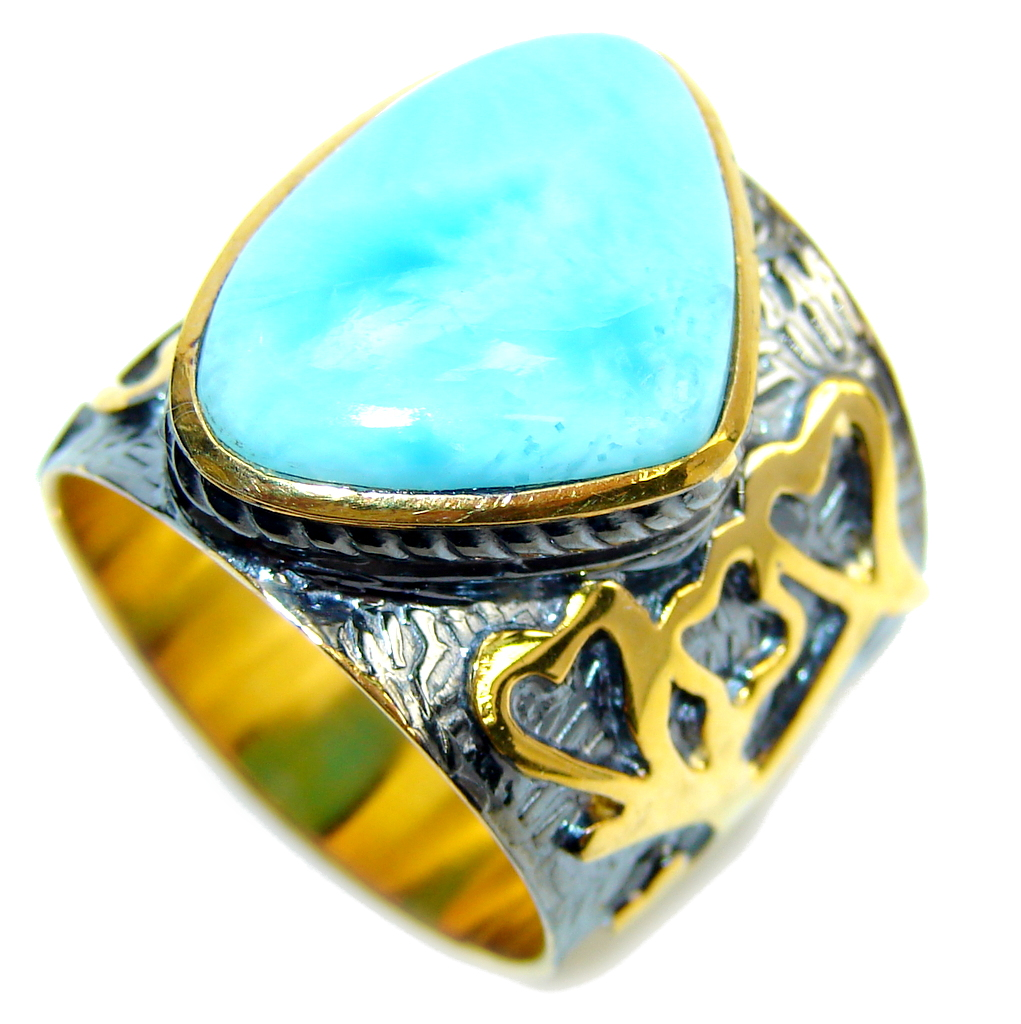 AAA Blue Larimar, Gold , Rhodium Plated Sterling Silver Ring s. 8 1/4