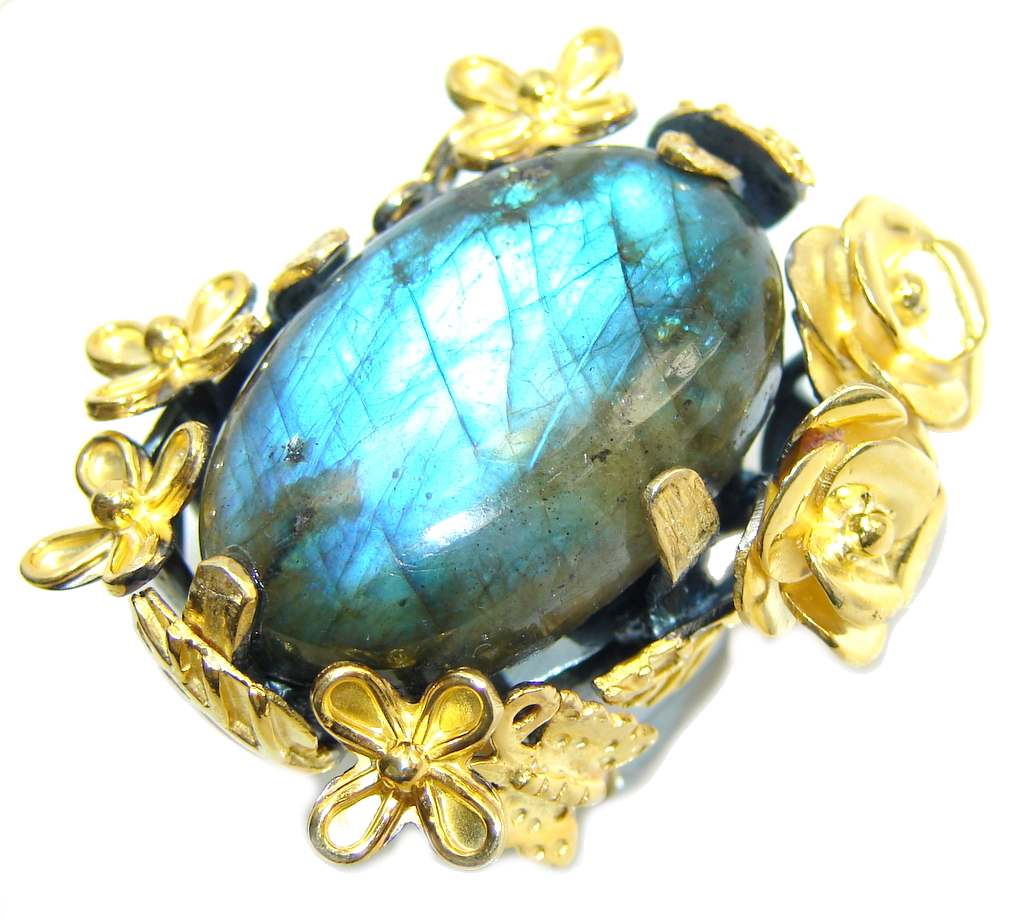 Big! Natural AAA Fire Labradorite, Gold Plated, Rhodium Plated Sterling Silver ring s. 8 1/4