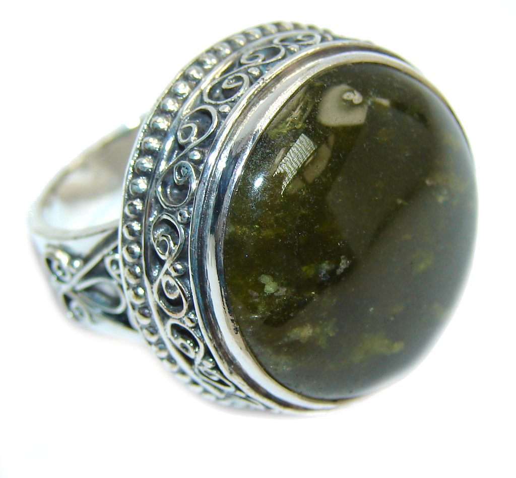 Big! Fabulous Green Fire Labradorite Sterling Silver ring s. 7 1/2